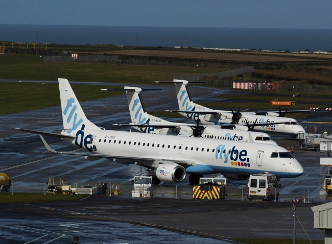 Cornwall-Airport-Newquay-Flybe-Trio-on-Apron