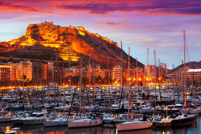 Alicante-marina-Santa-Barbara-Castle-sunset-Costa-Blanca