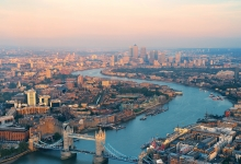London-skyline-sunset-tower-bridge-canary-warf