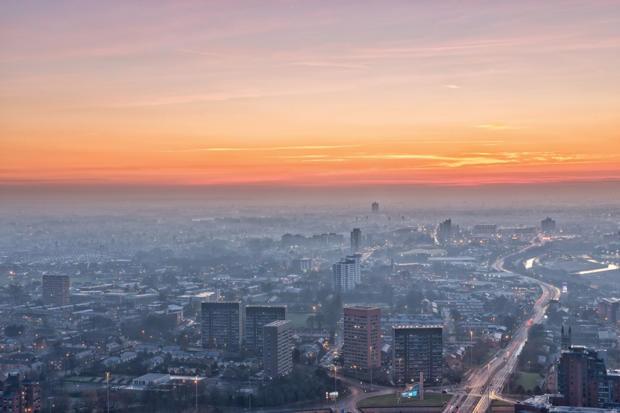 Manchester-City-Centre-at-Sunset