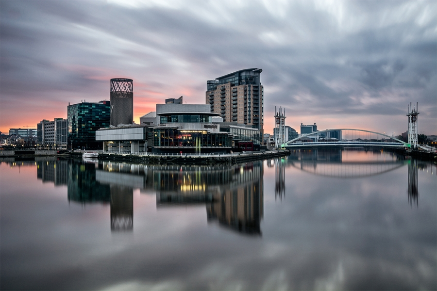 Manchester-Salford-Quays-Sunset
