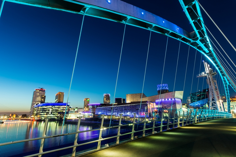 Manchester-Salford-Quays-at-Night